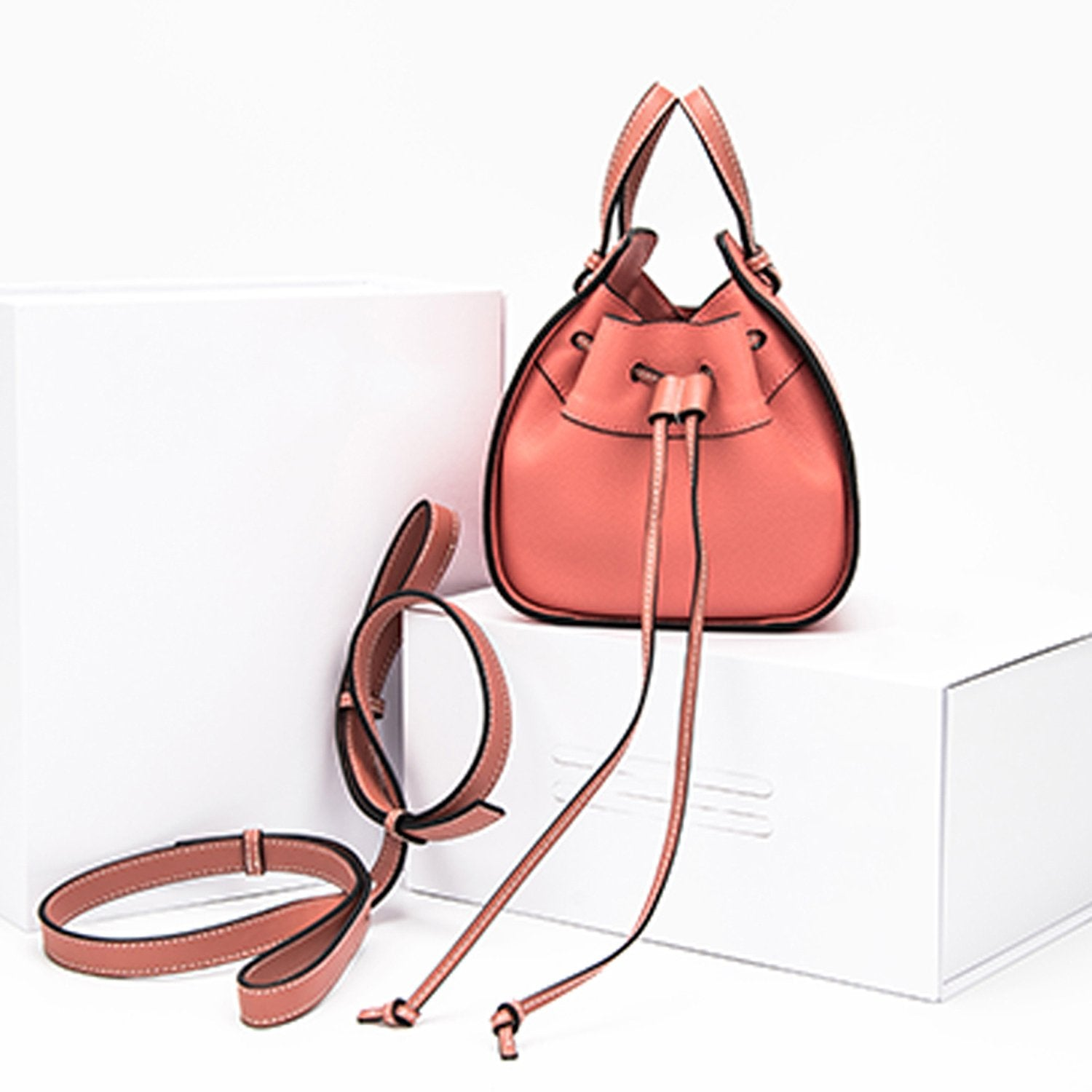 Leather Bucket Bag Slung Handbag