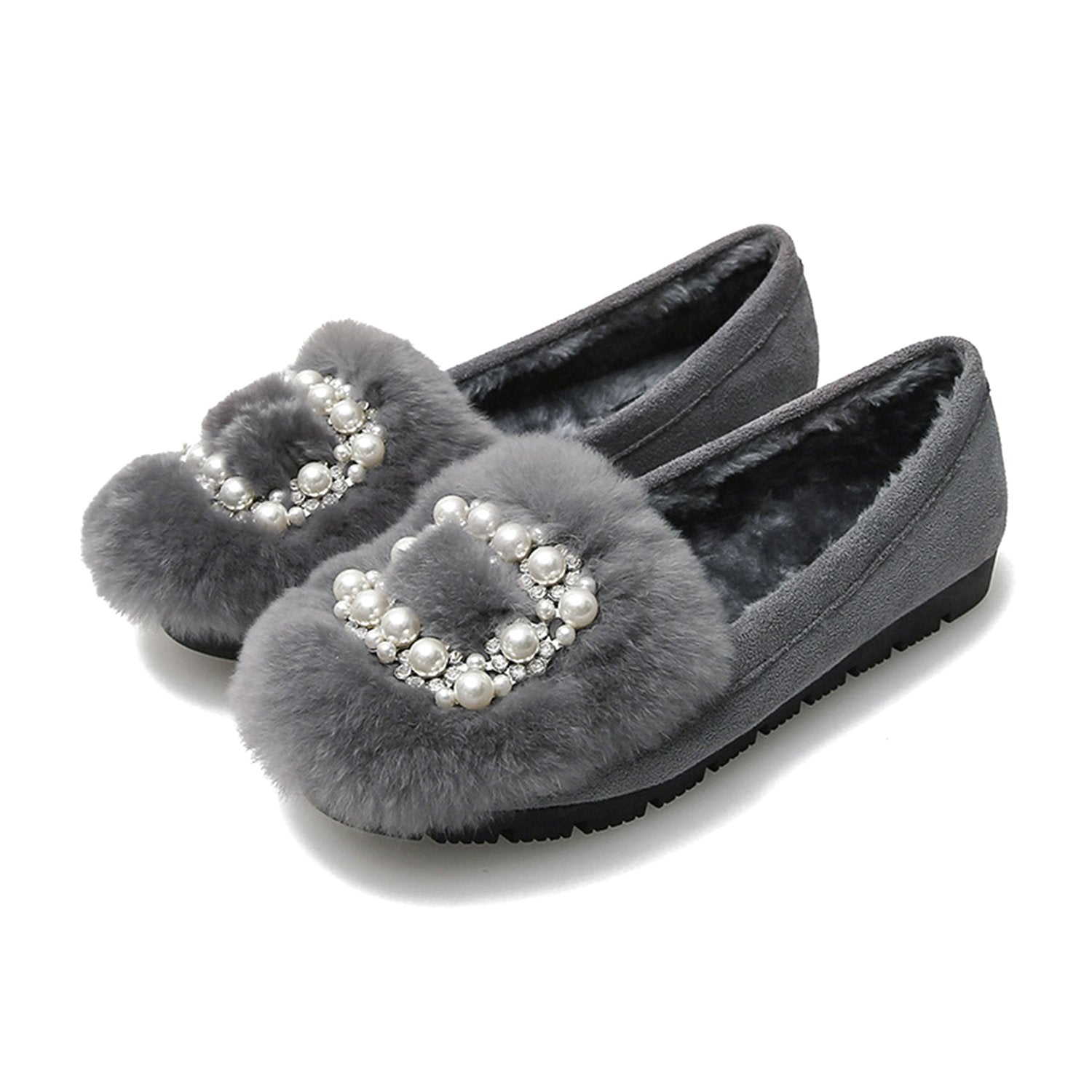 Square Buckle Fur Peas Shoes