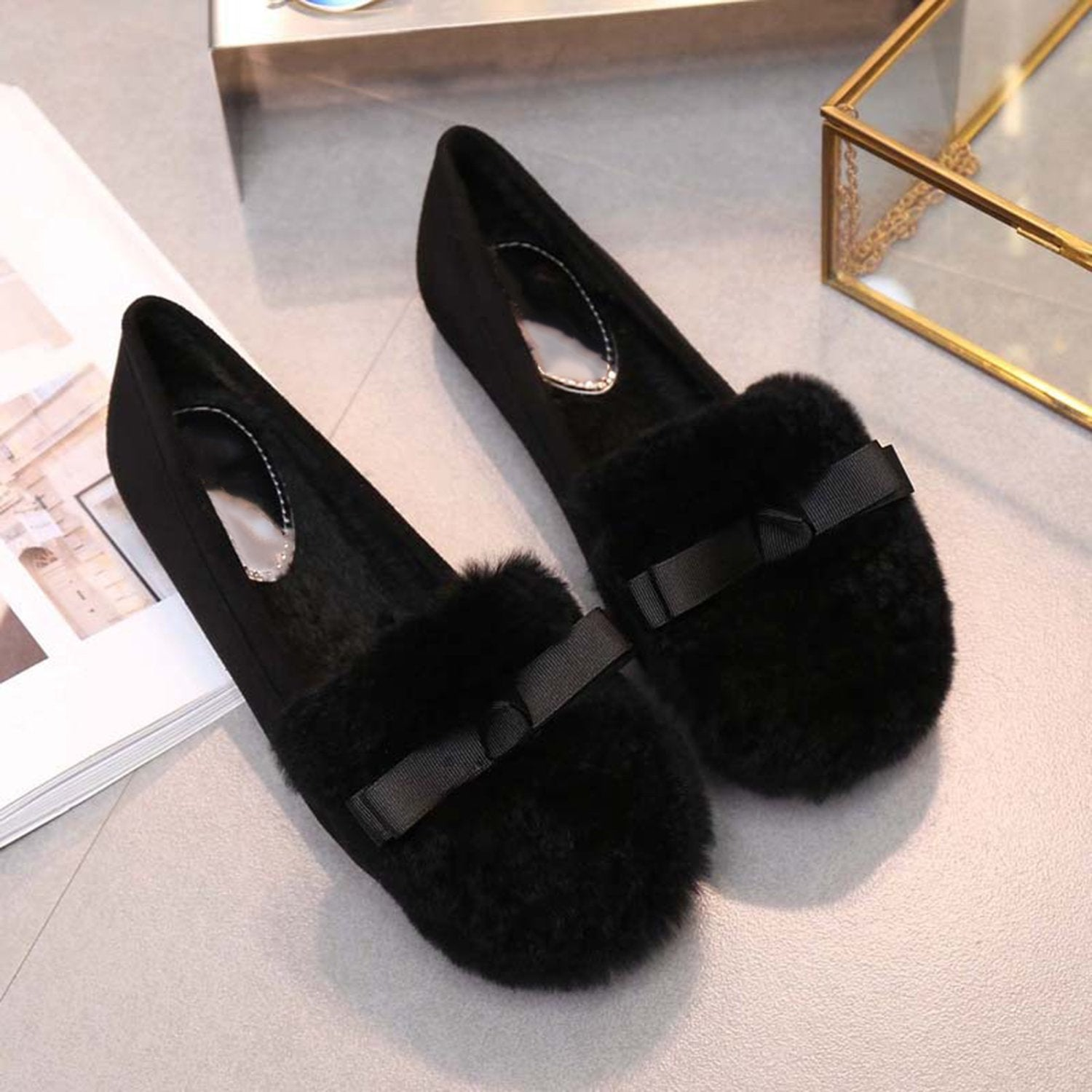 Round Head Bow Knot Fur Loafers