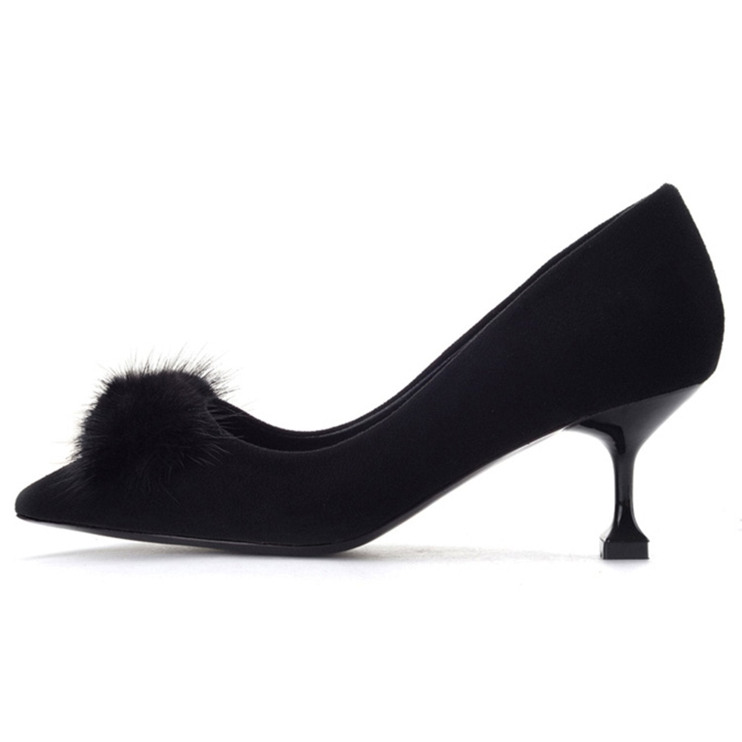 Faux Suede Fur-bow-knot Kittens Shoe
