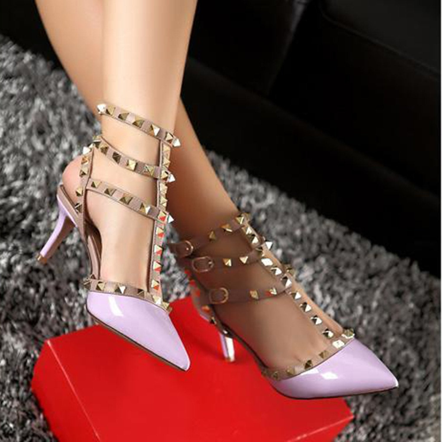 T-strap Mid Heel Ankle Strap Pumps