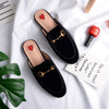 Heart Oxford Slide Slip On Flat Mule Loafer (Velvet)