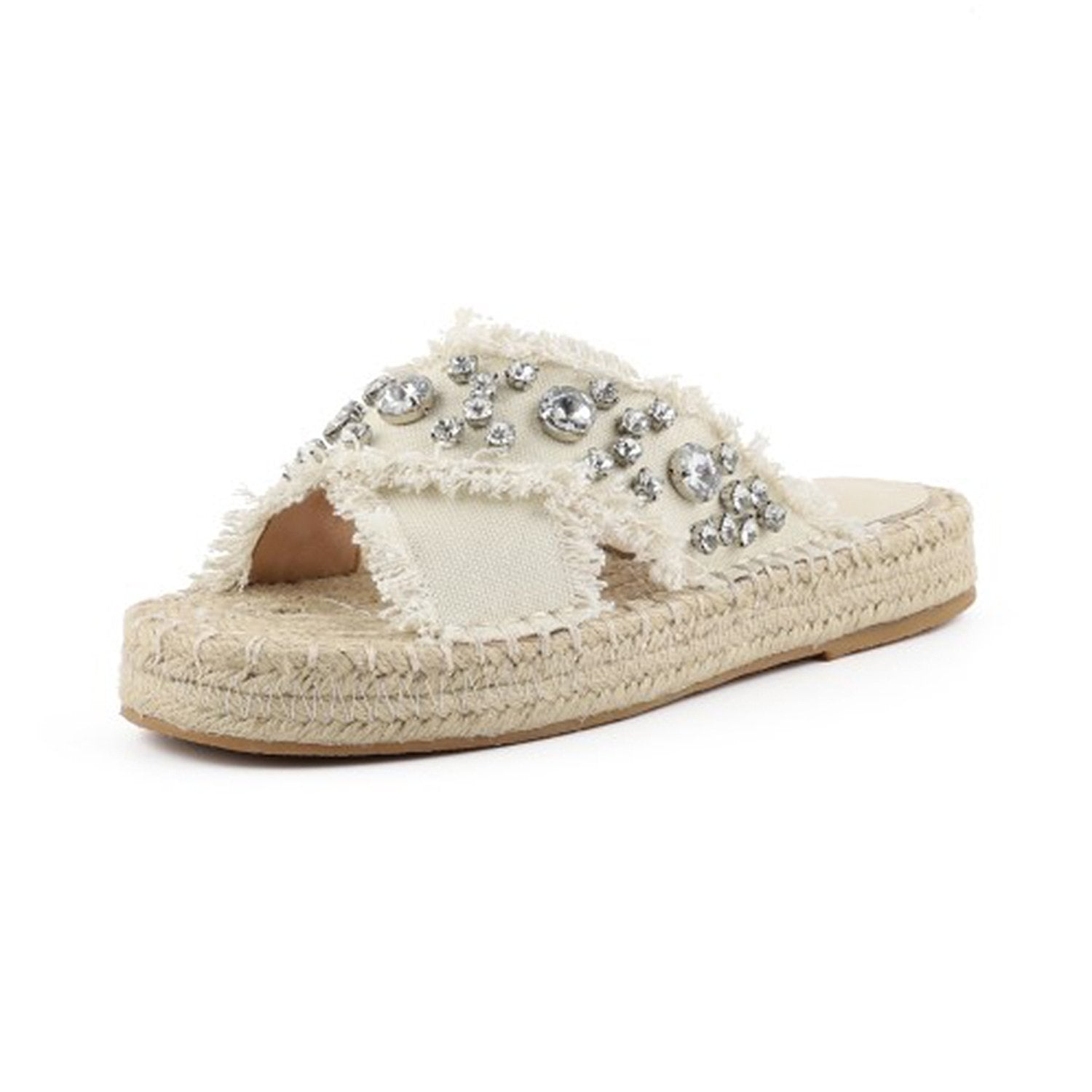 Slim Rhinestone Criss-cross Slides