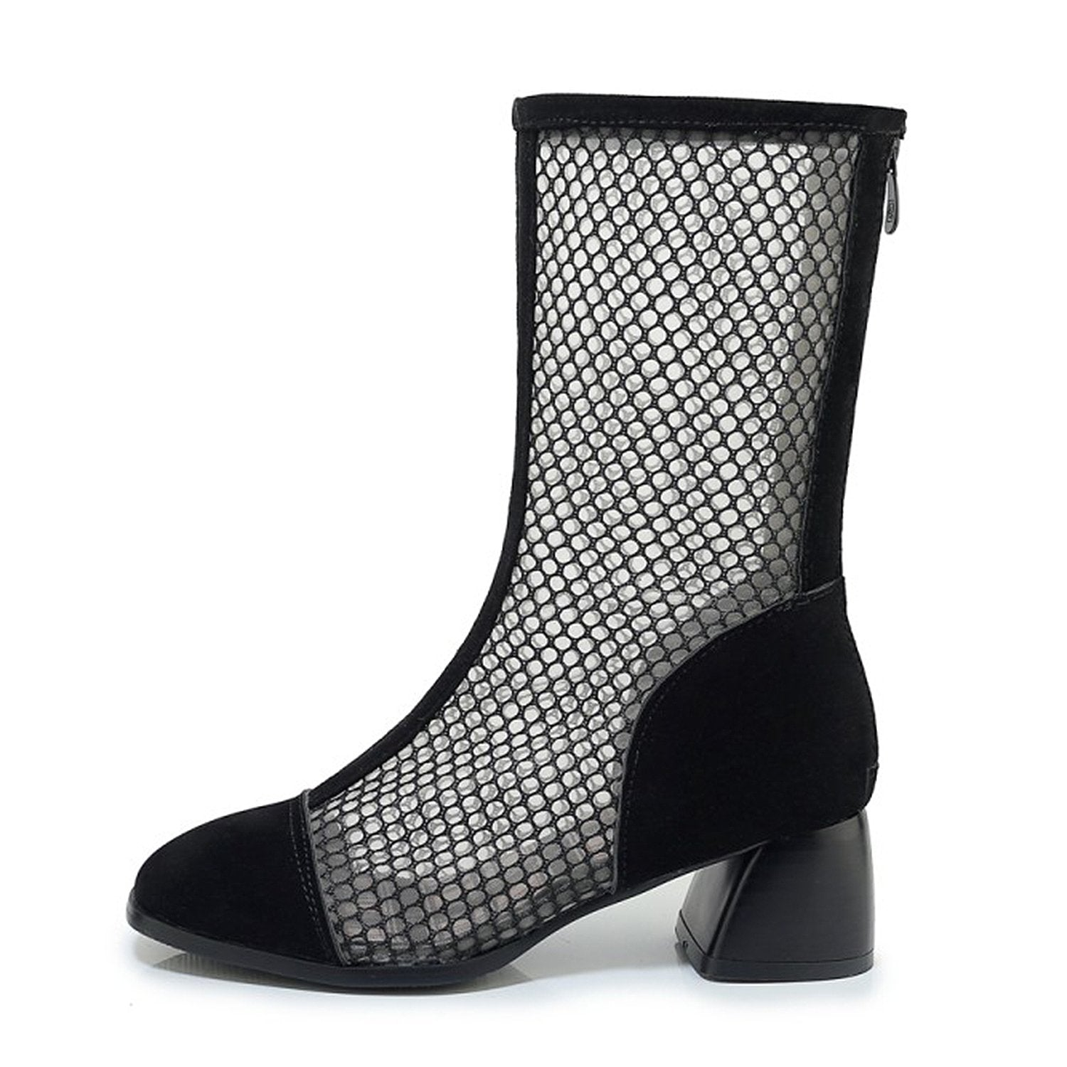 Mesh Zipper Fish Mouth Low-heeled Boots