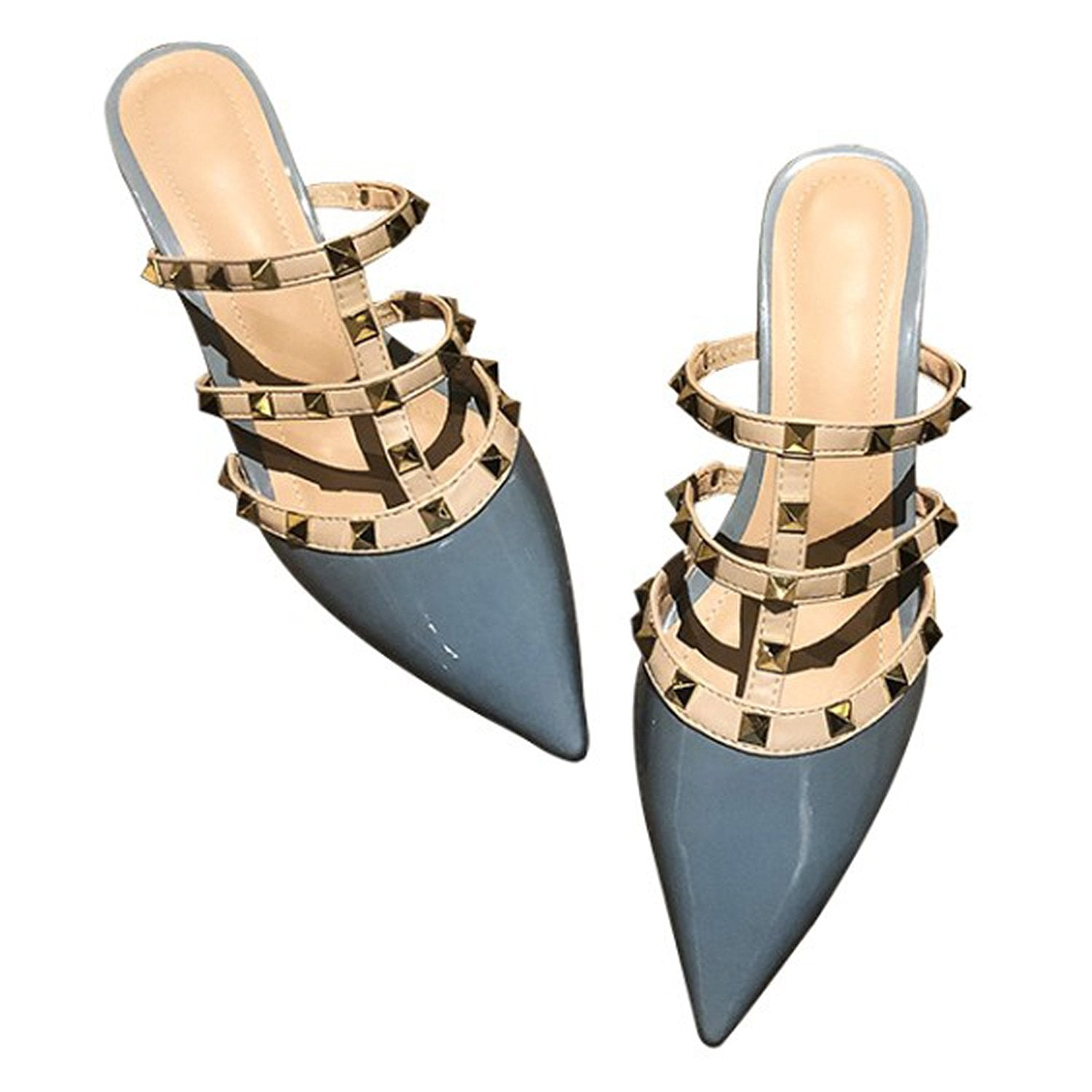 Pointed Rivet Low Heel Slippers Mules