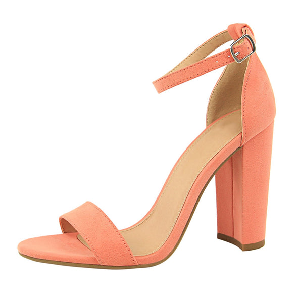 Simple and Thick High-Heeled Sandals