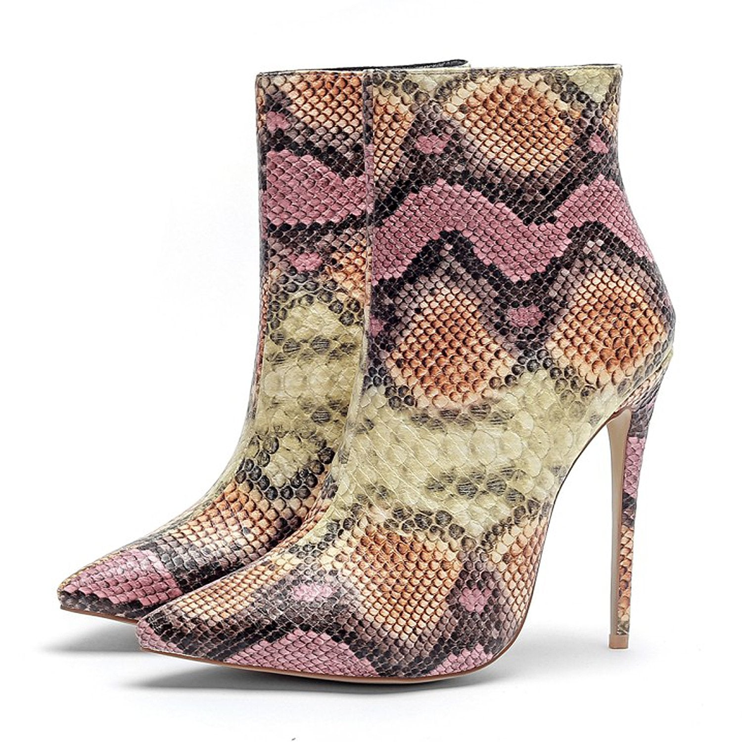 Colorful Pointed Snake Pattern High Heel Boots
