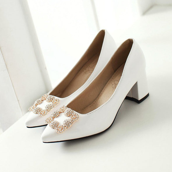Pointed Metal Rhinestone Wedge Shoes