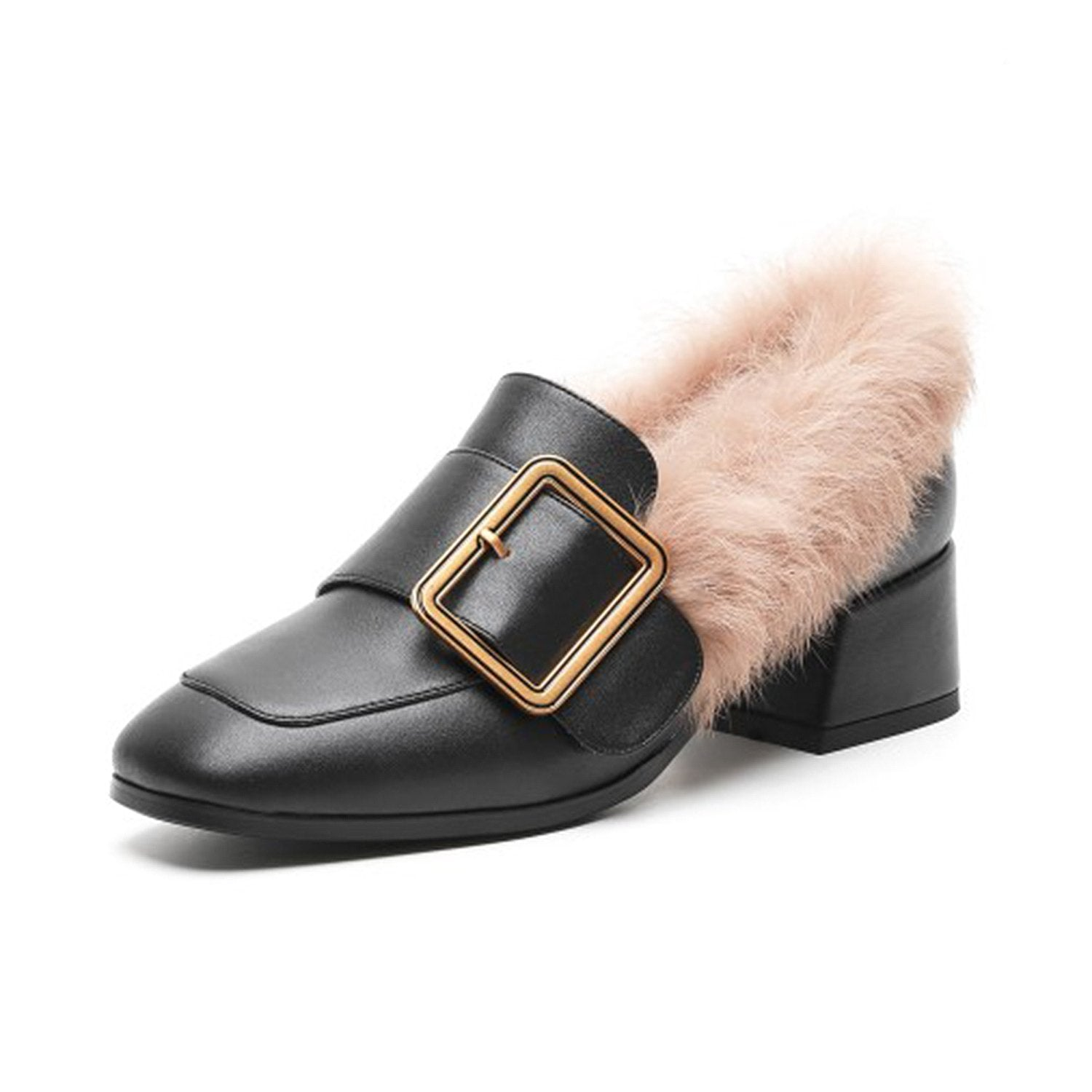 Leather Square Metal Buckle Fur Shoes