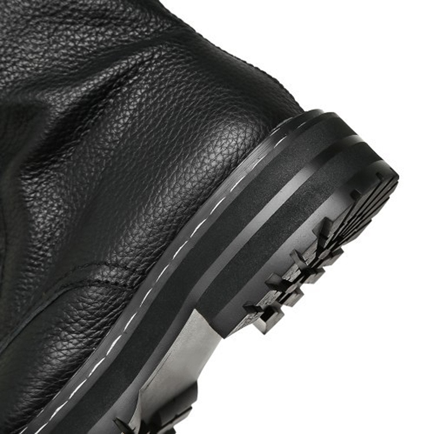Leather Side Zipper Lace Short Boots