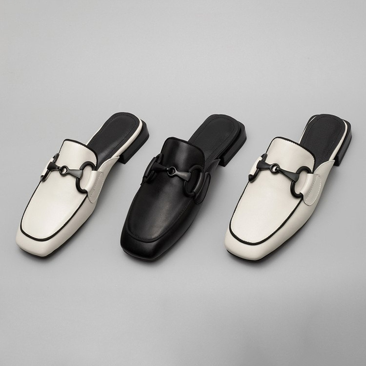 Simple Leather Buckle Decoration Mules