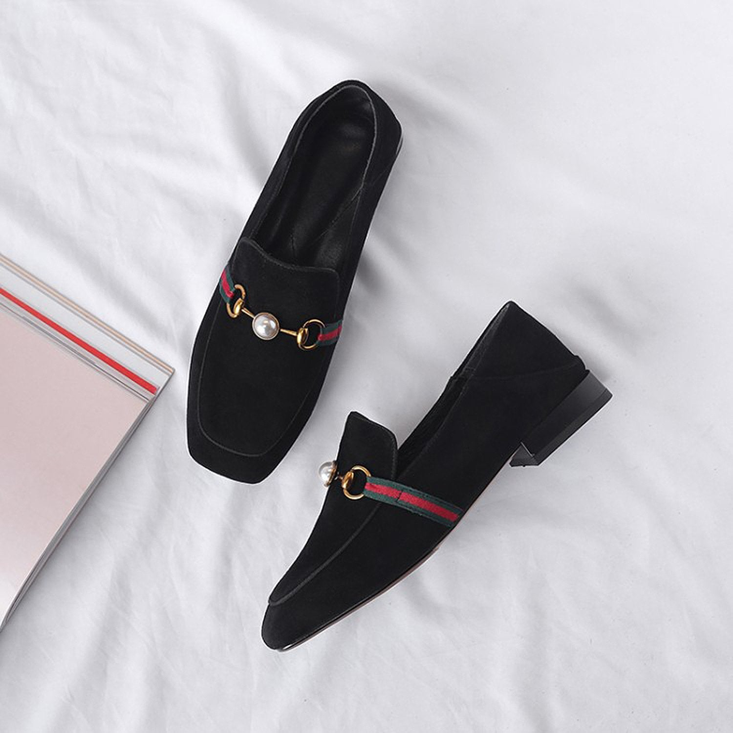 Pearl Buckle Matching Loafers