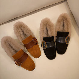 Square Buckle Fur Shoes