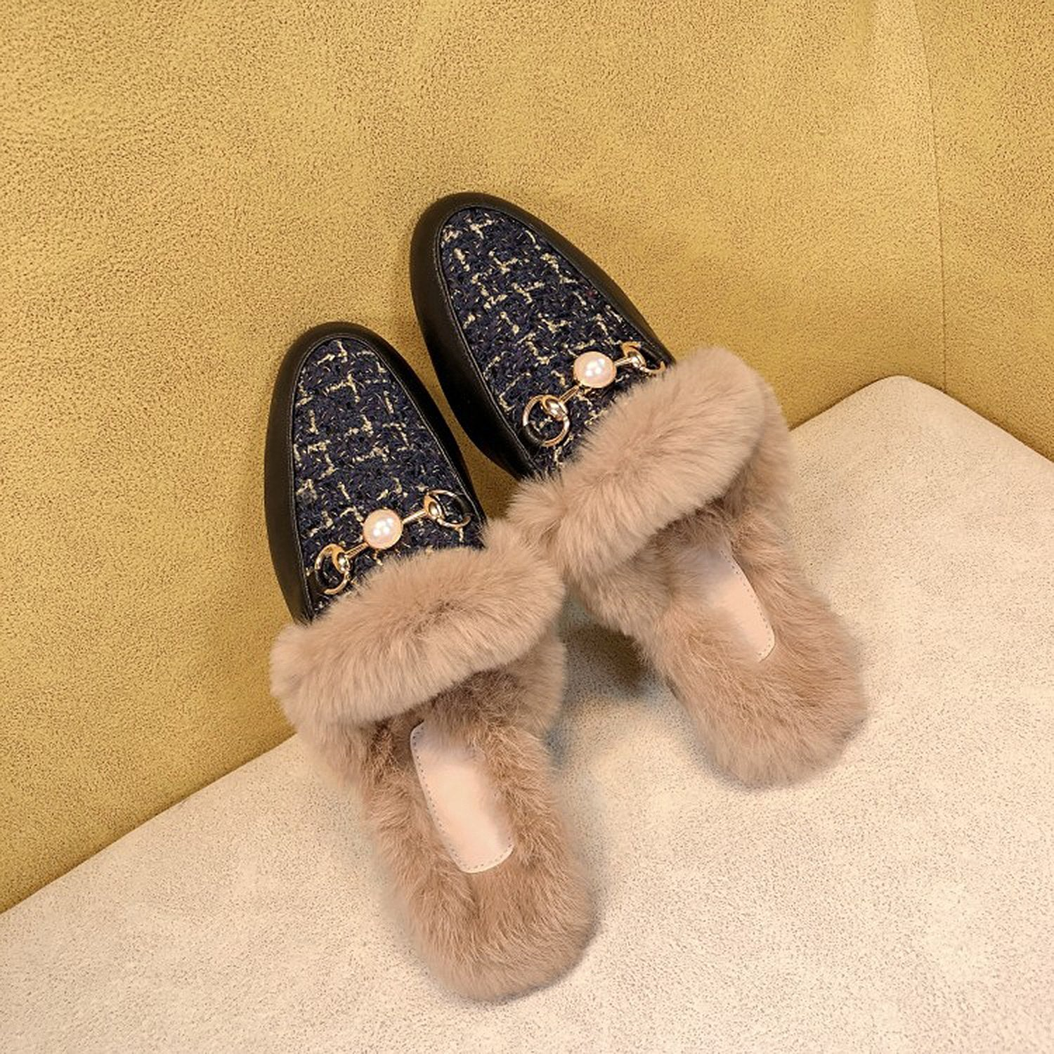 Round Head Fur Flat Mules