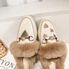 Embroidered Fur Pearl Buckle Slippers Mules