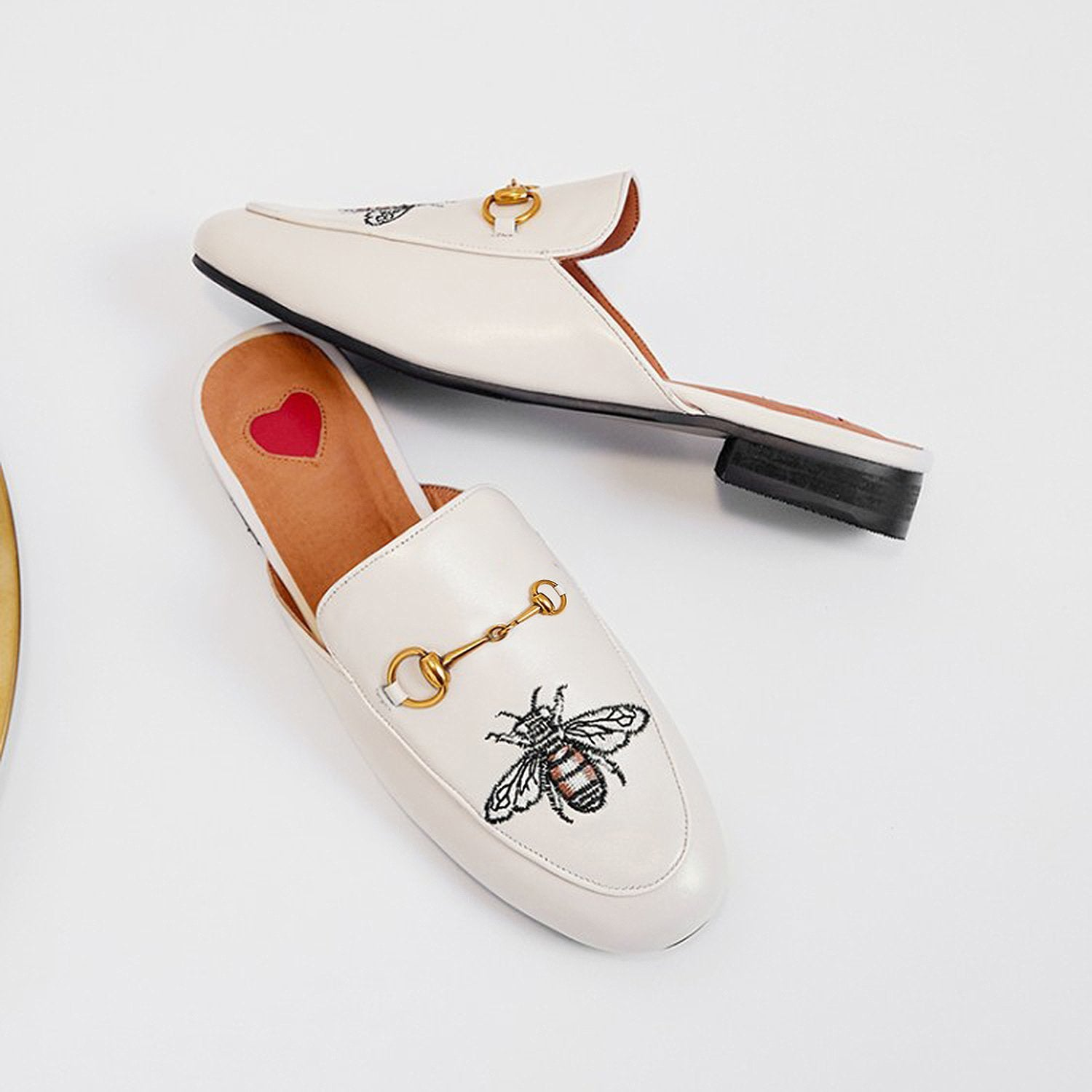 Embroidery Bee Buckle Mules