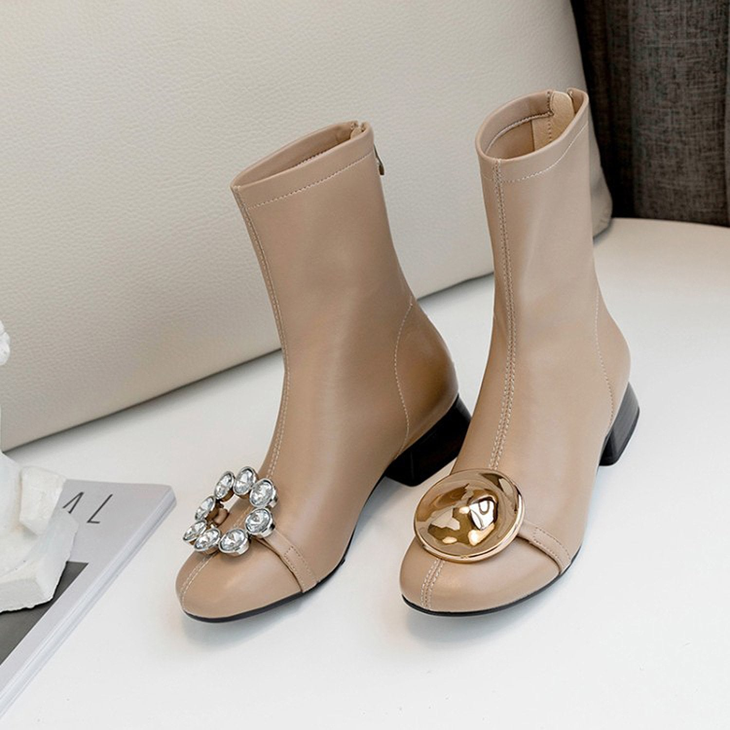 Leather Rhinestone Buckle Boots