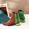 Colored Stitching Short Wedge Boot