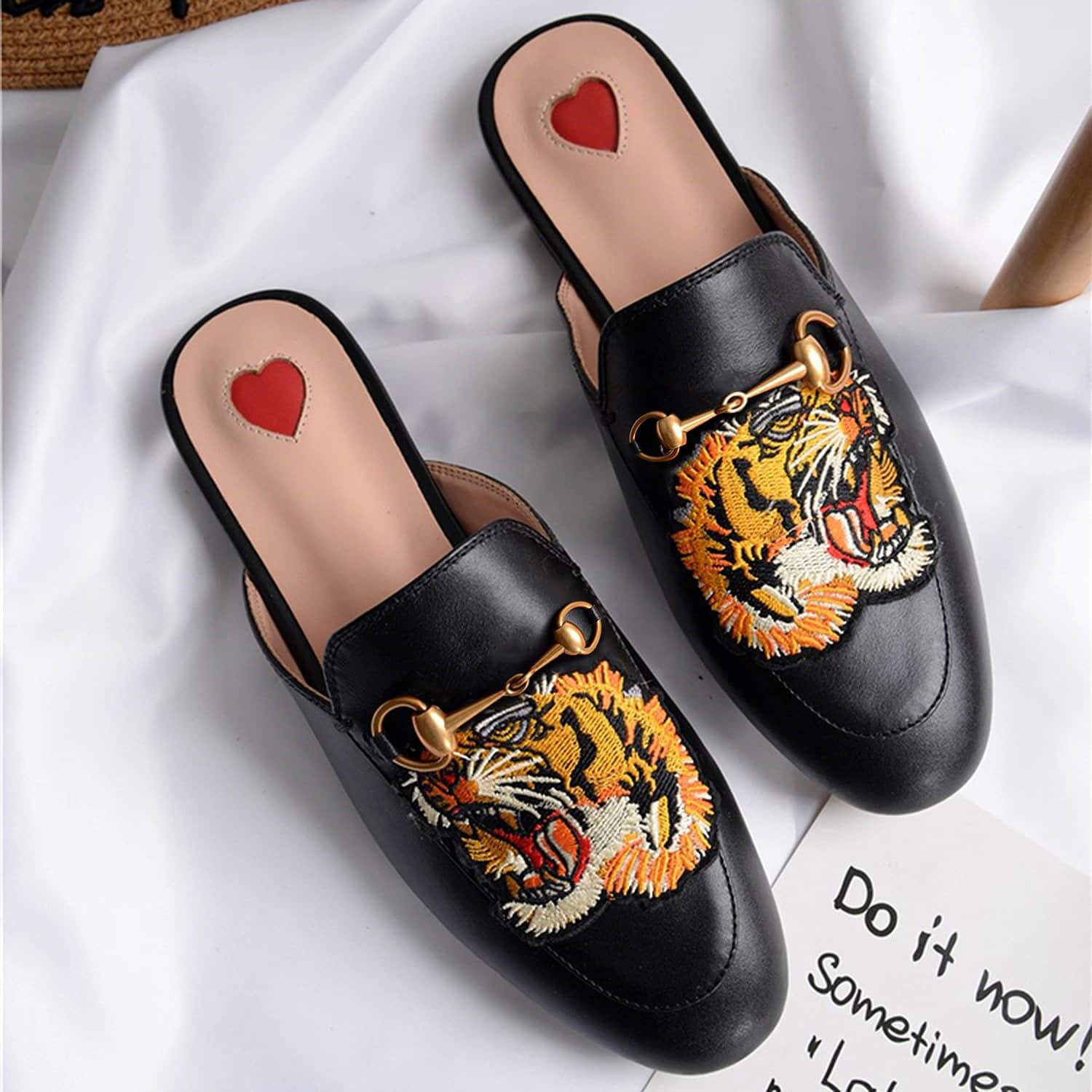 Heart Metal Buckle Embroidery Pattern Mules