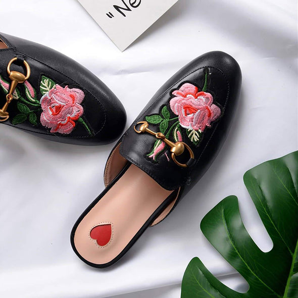 Metal Buckle Embroidery Pattern Mules