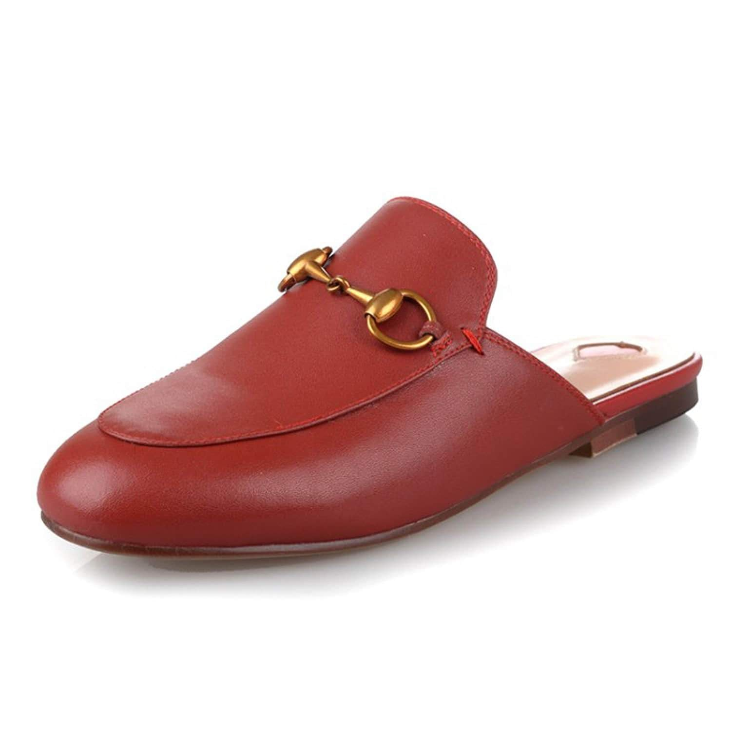 Red Heart Buckle Shoes Mules