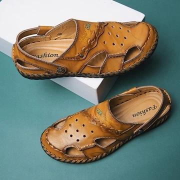 Men's Large Size Hand Stitching Closed Toe Soft Hole Leather Sandals