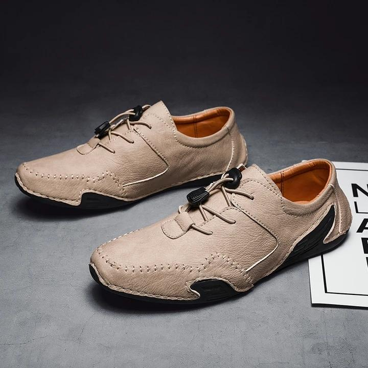 Men Hand Stitching Comfort Lace Up Soft Driving Leather Shoes