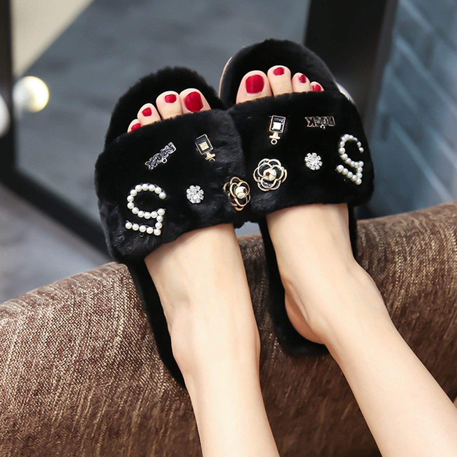 Cute Home Wearing Non-slip Flat Slippers