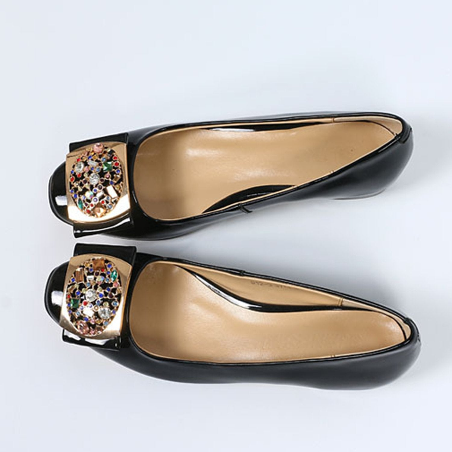 Rhinestone Patent Leather Loafers