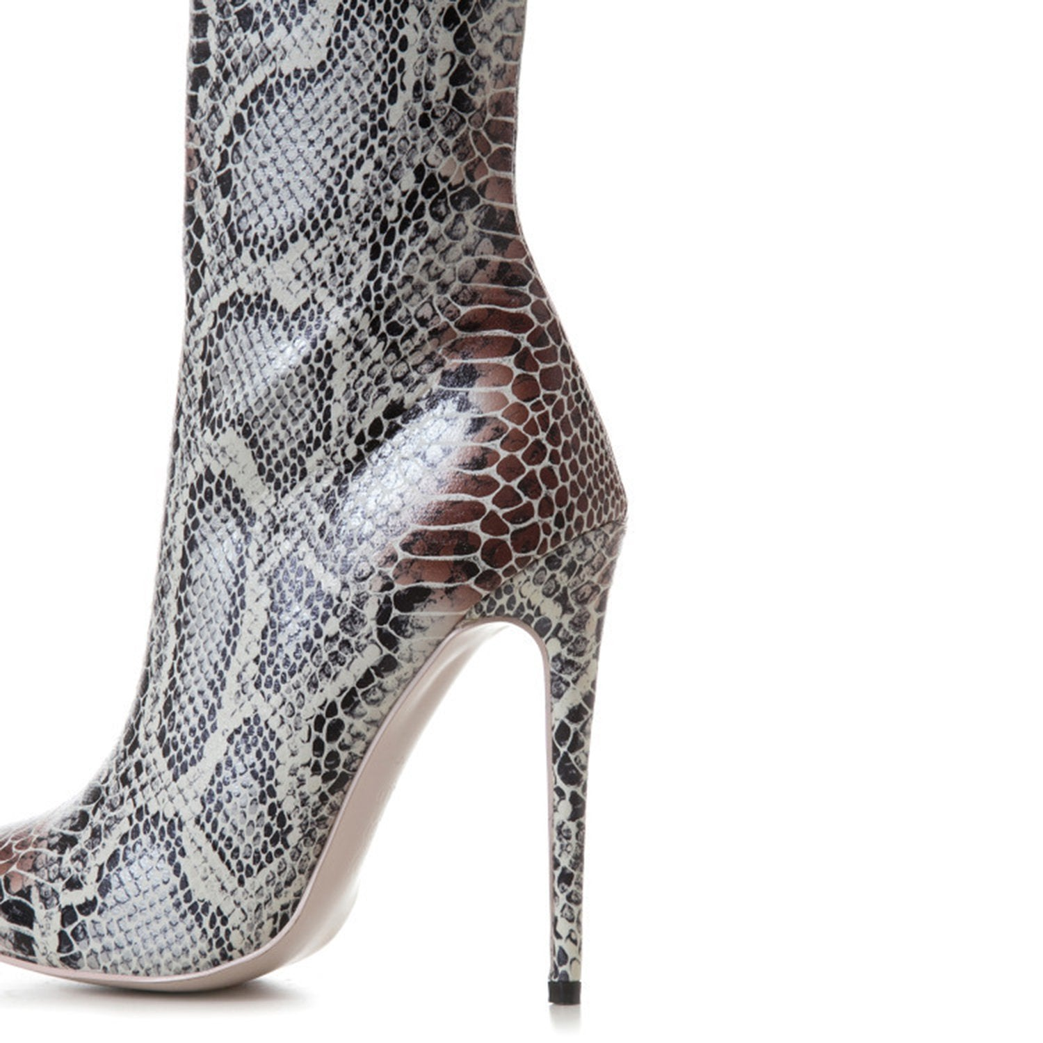 Pointy Toe Snakeskin Stiletto High Heel Boots