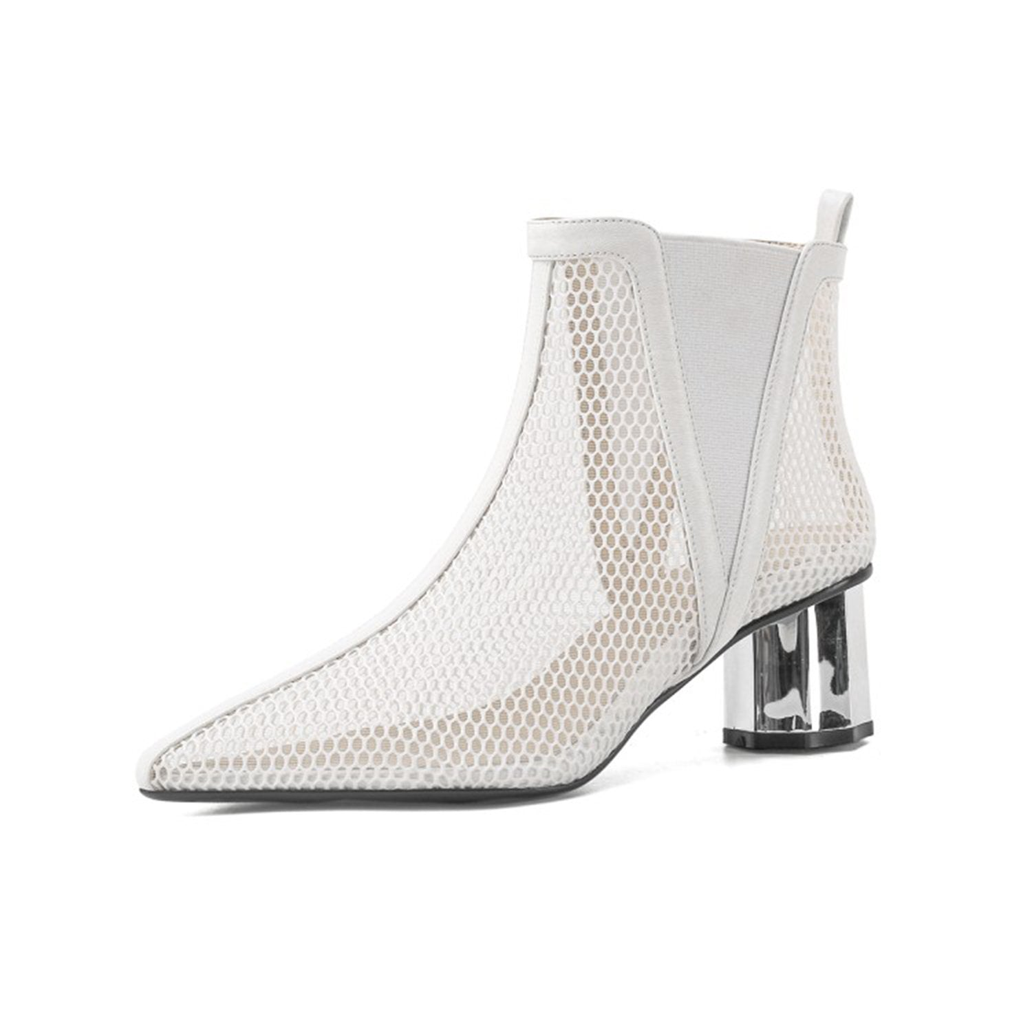 Pointed Hollow Mesh Thick Heels Boots