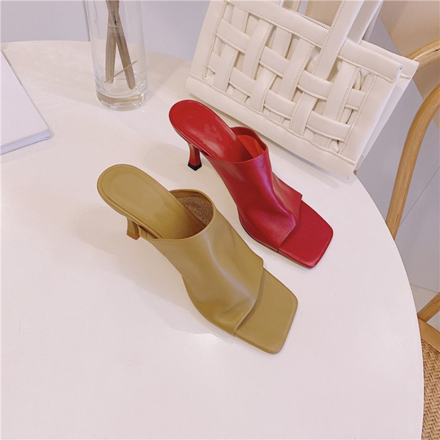 Leather Squared High Heels Mules