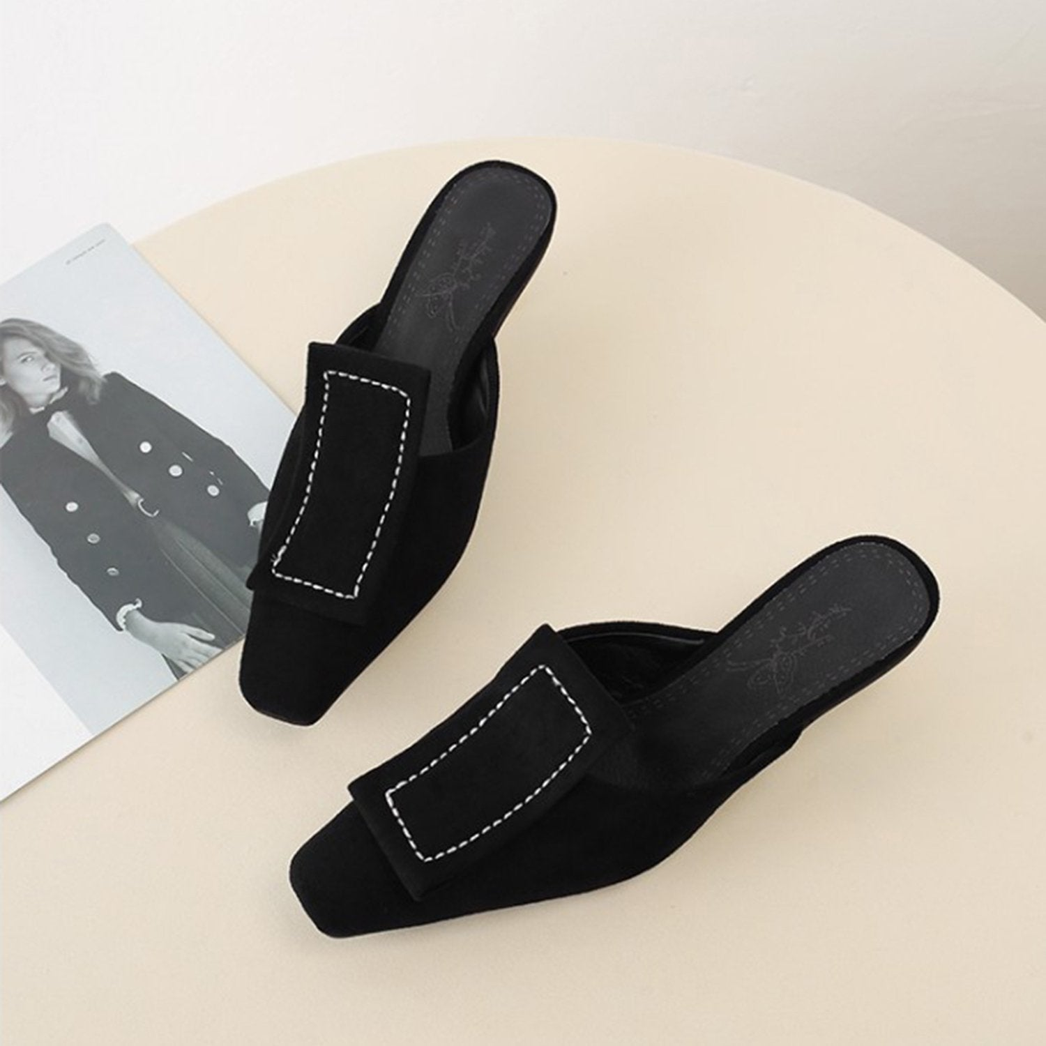 Matte Velvet Fashion Mules