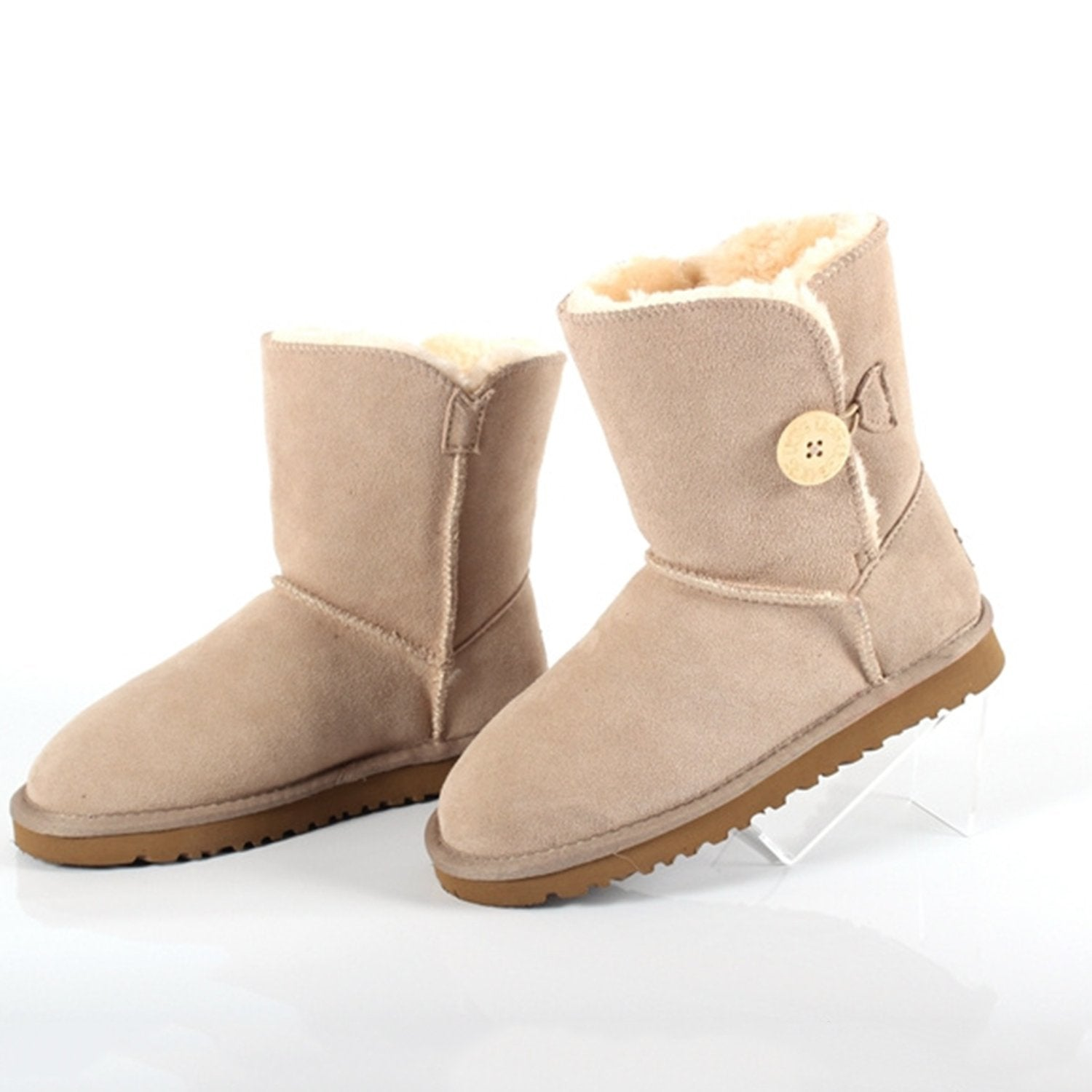 Mid-tube Leather Warm Snow Boots