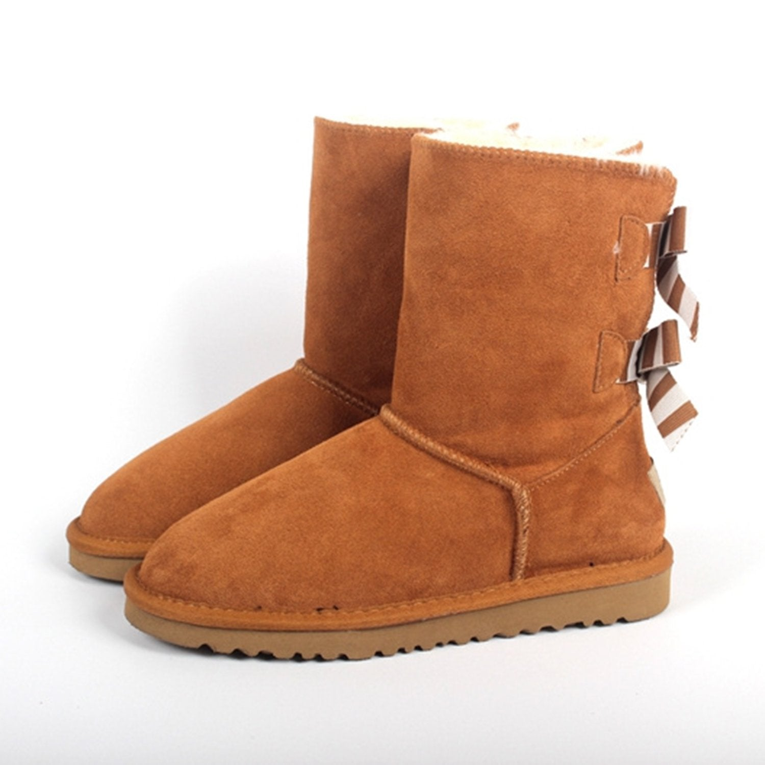 Mid-tube Bow Leather Warm Snow Boots