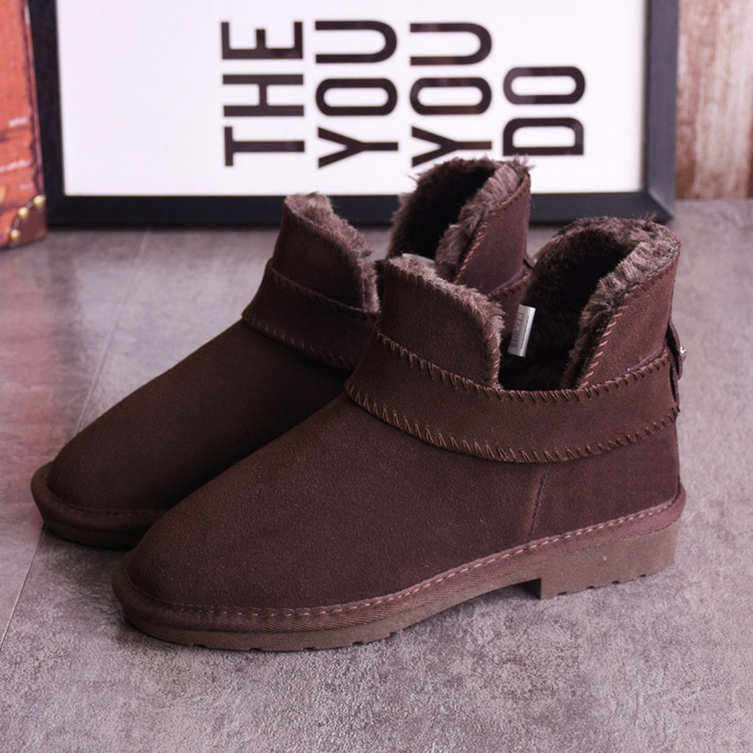 Leather Warm Slope Heel Snow Boots