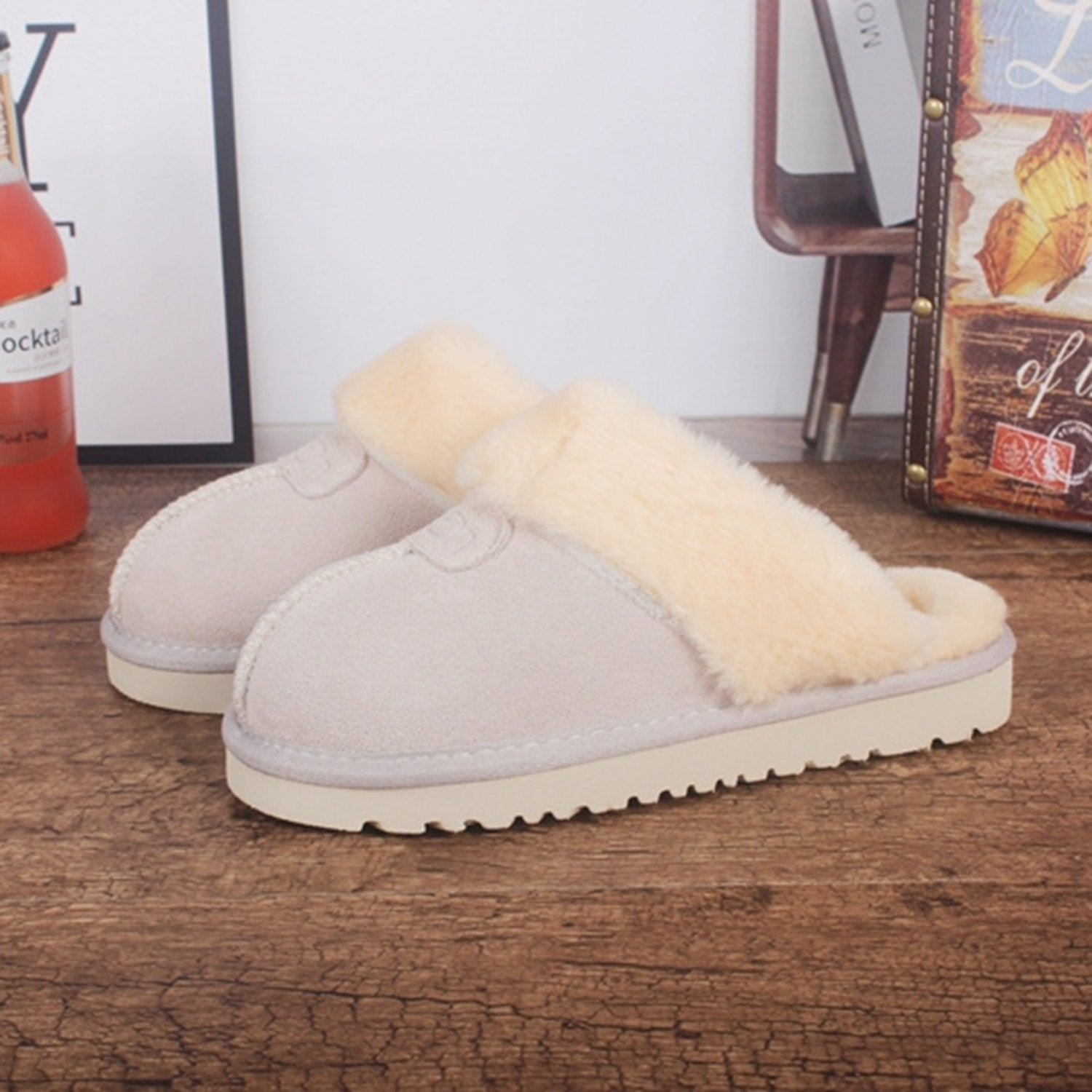Cowhide Flat Slippers Warm Snow Boots