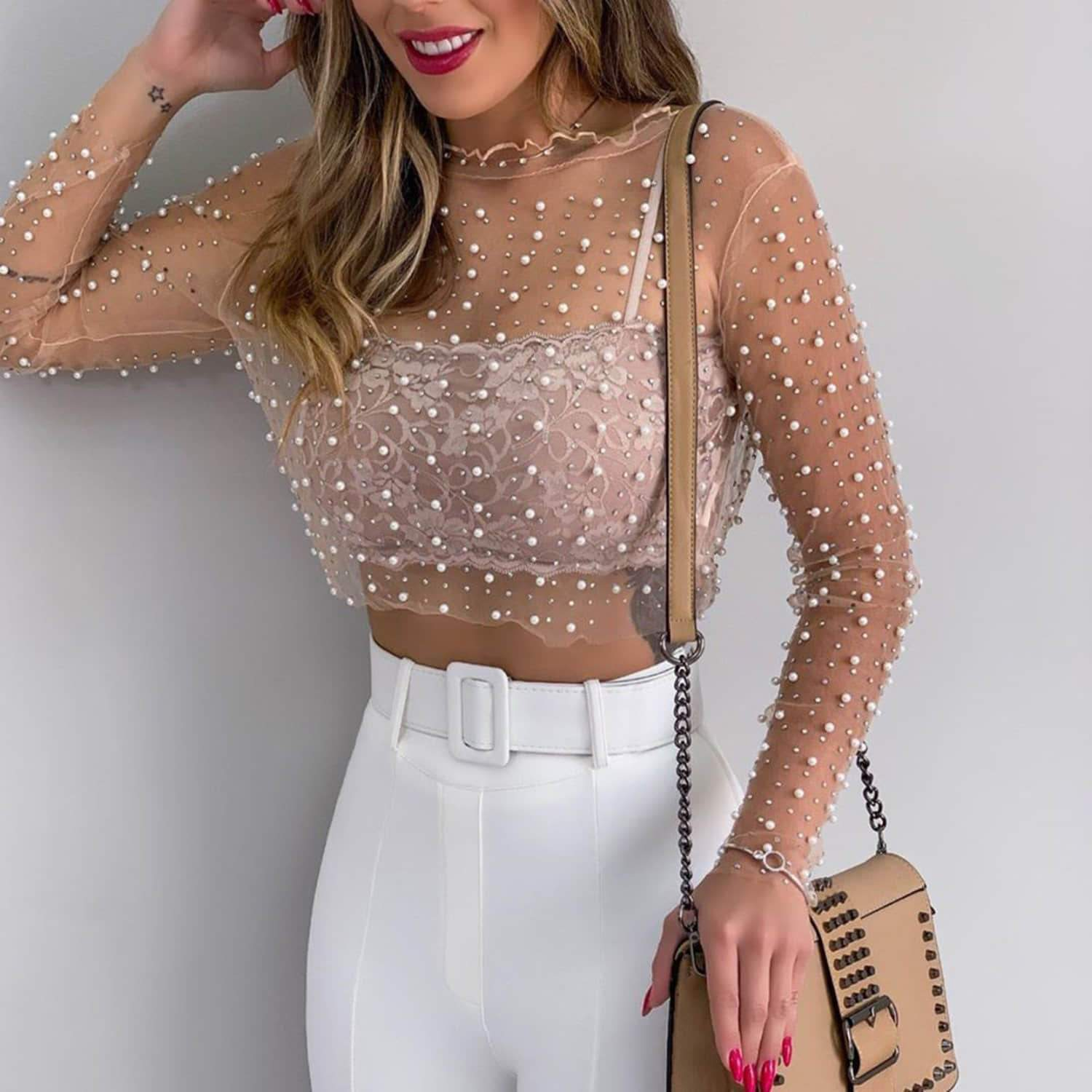 See-through Lace Bright Diamond Beads Mesh Shirt