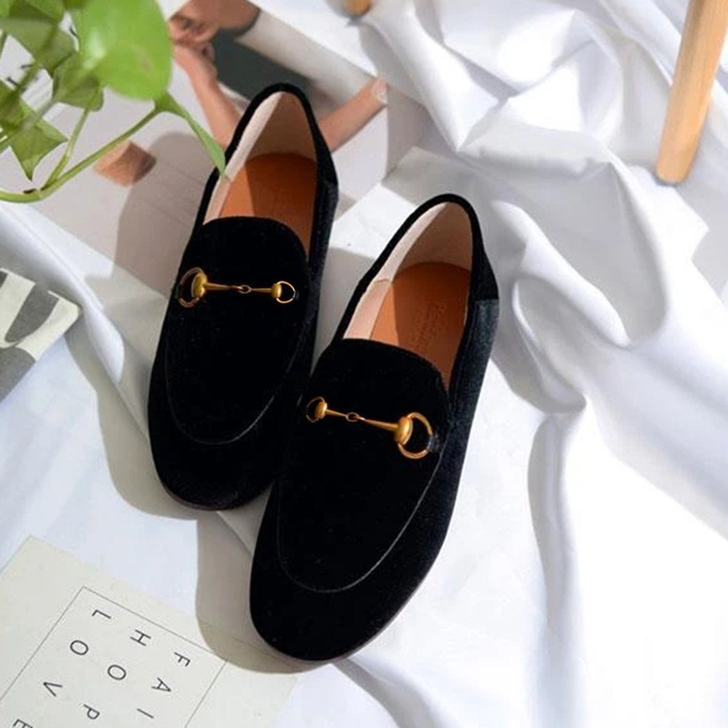 Classic Metal Buckle Velvet Loafers