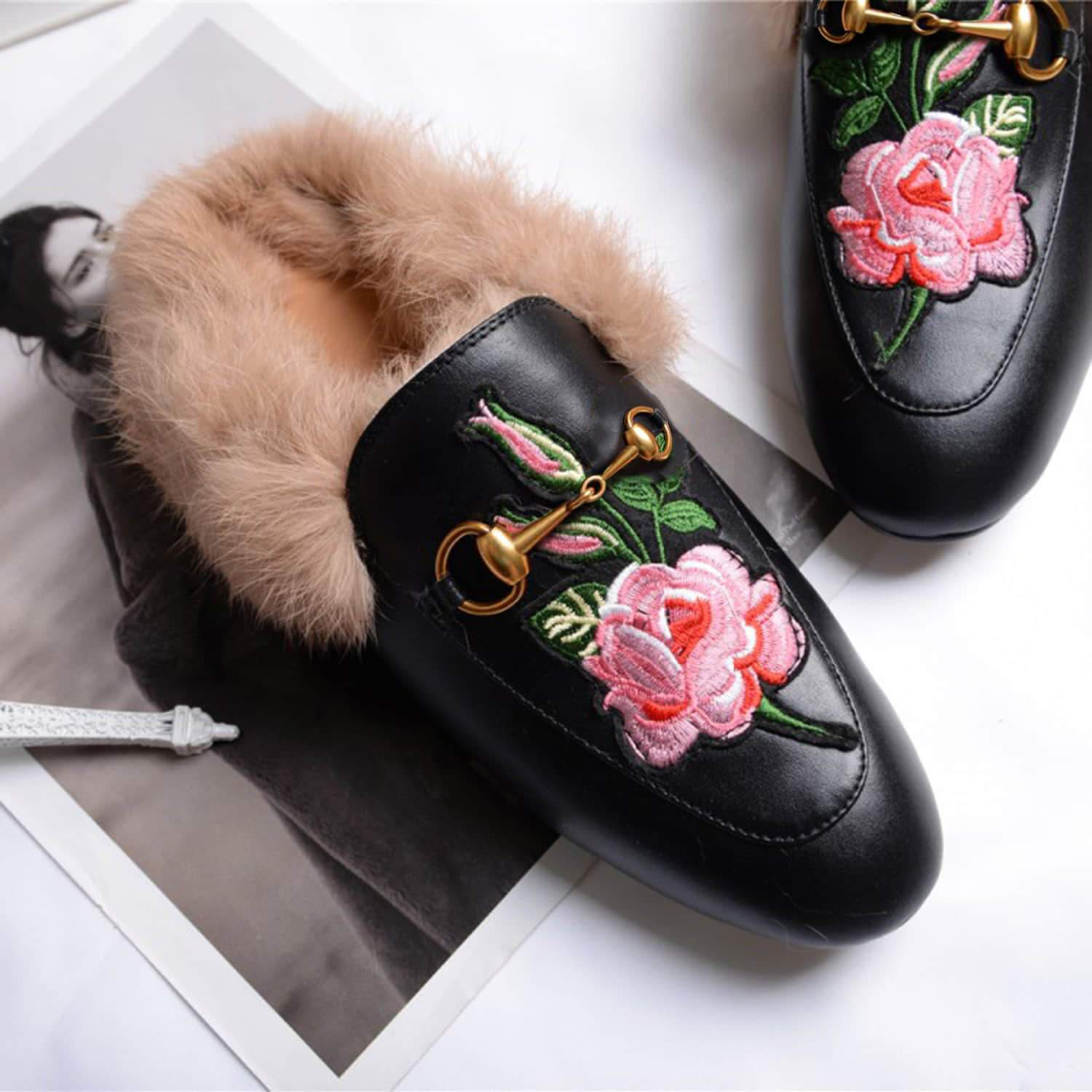 Rose Classic Buckle Fur Mules