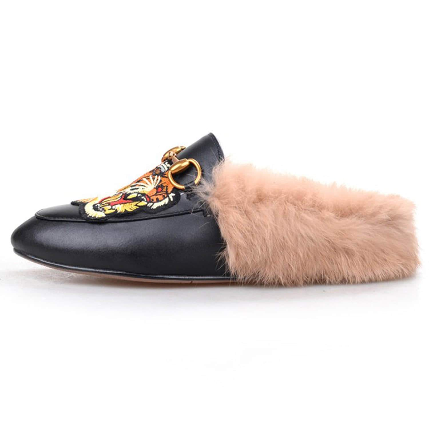 Casual Fur Leather Embroidered Slippers Mules