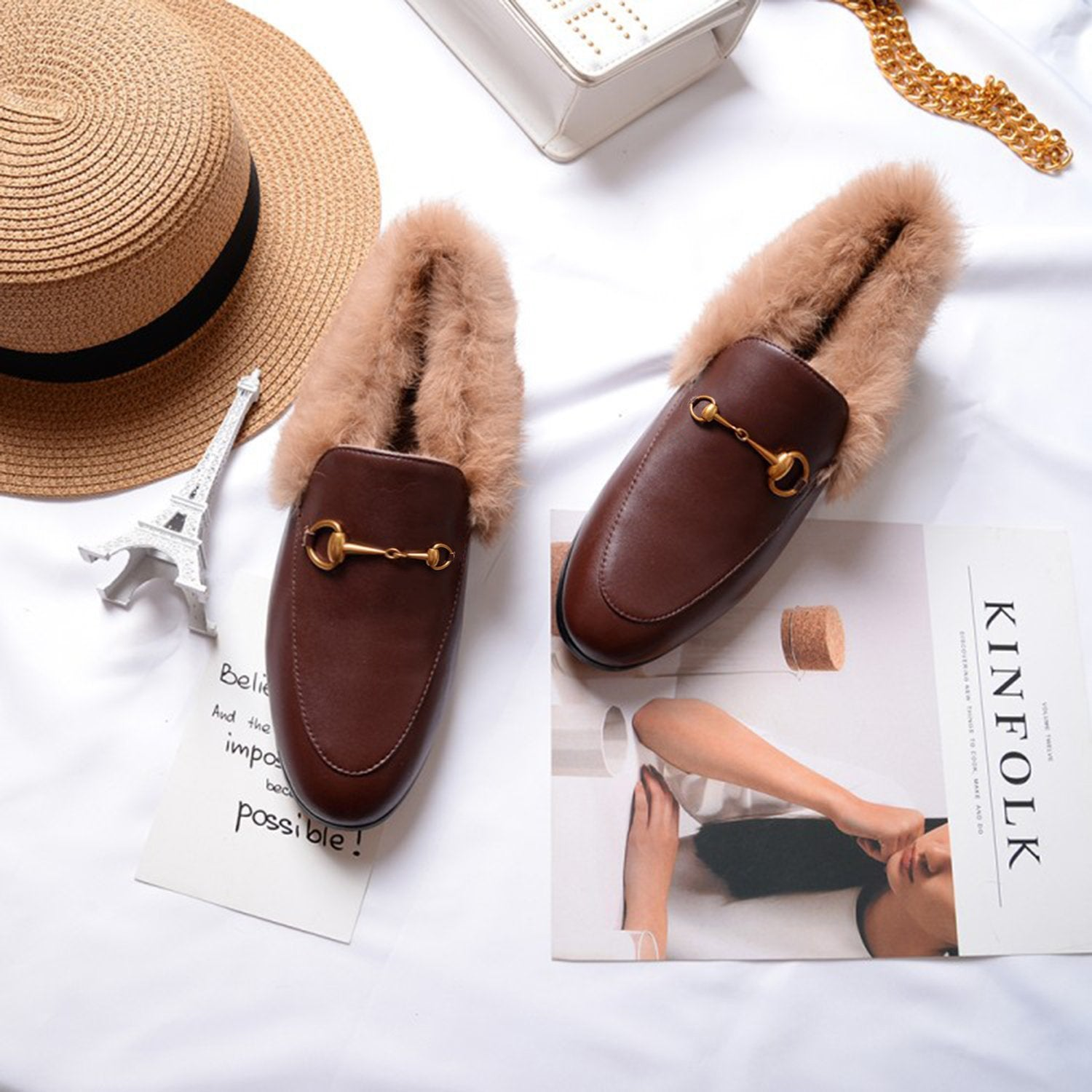 Horsebit Chain Fur Slip-on Penny Loafers