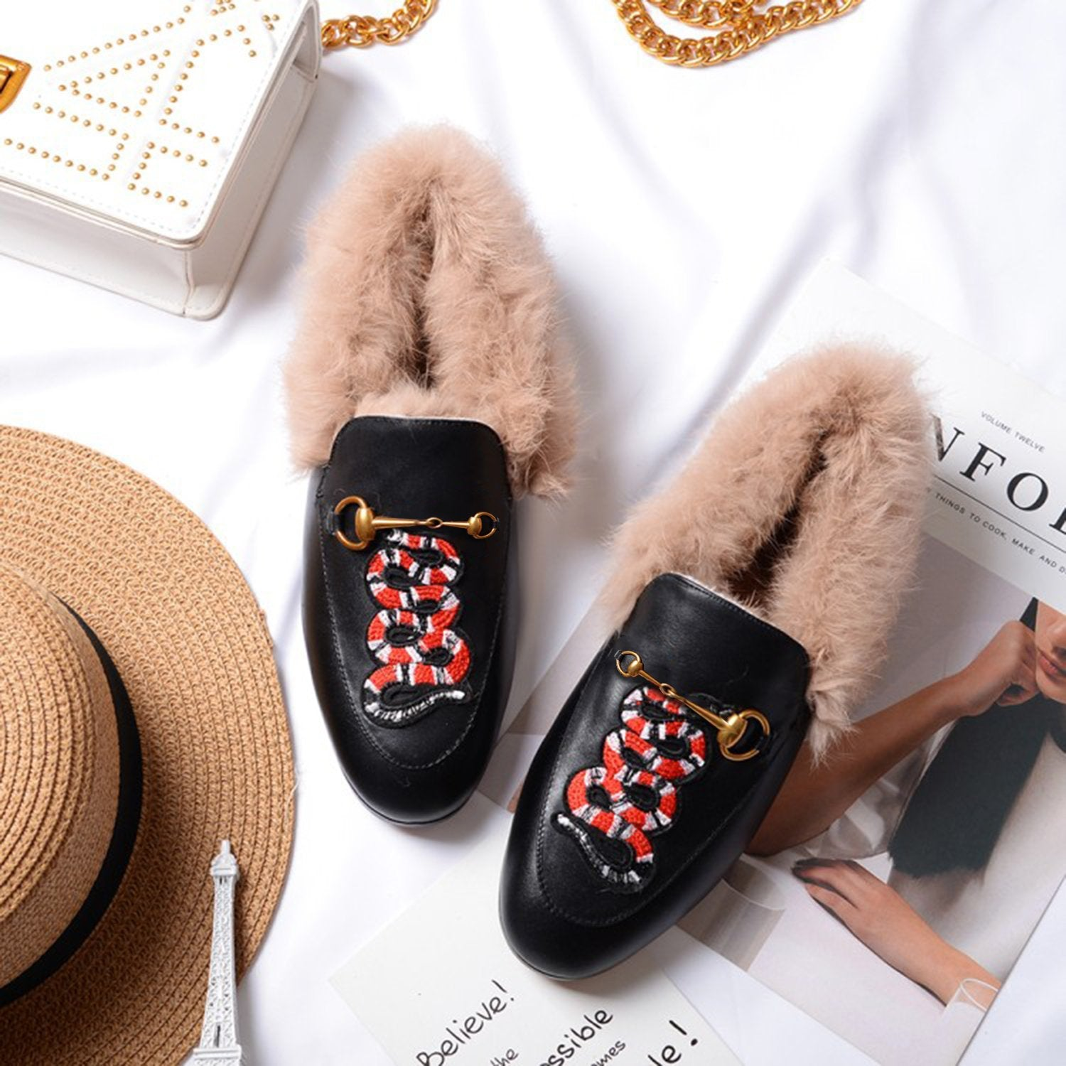 Horsebit Embroidered Square Toe Fur Loafers