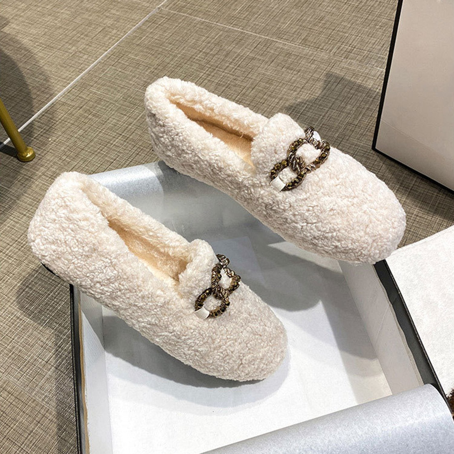 Lamb Fur Flat Shoes Loafers