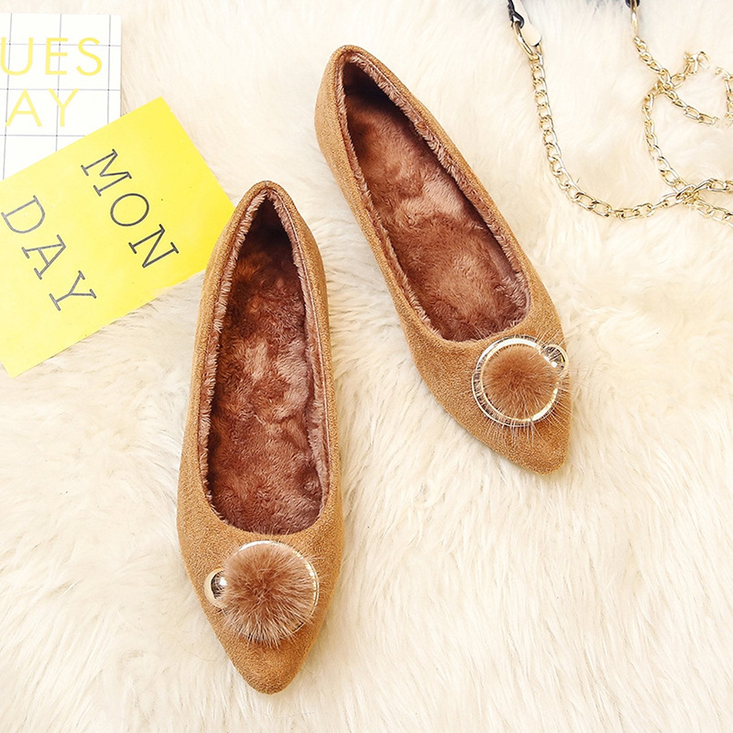 Pointed Flat Fur Buckle Velvet Loafers