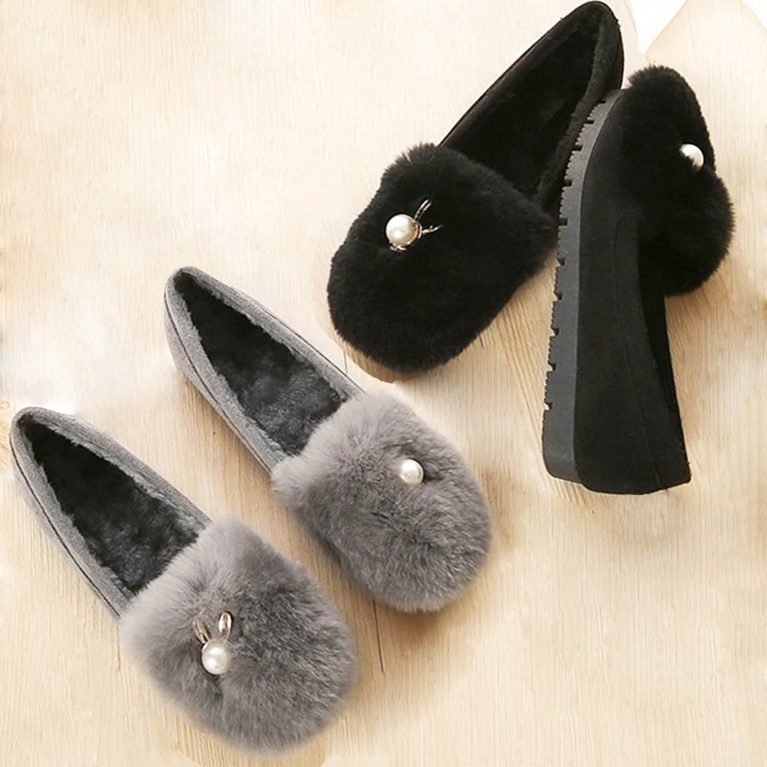 Pearl Velvet Thick-Soled Fur Shoes Loafers