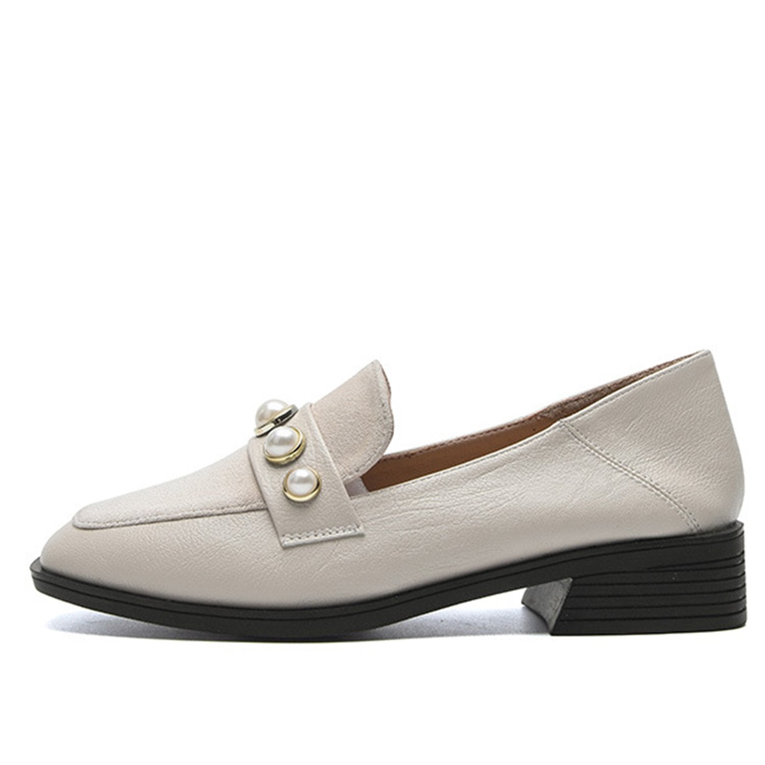Pearl Buckle Decoration Loafers Thick Heel