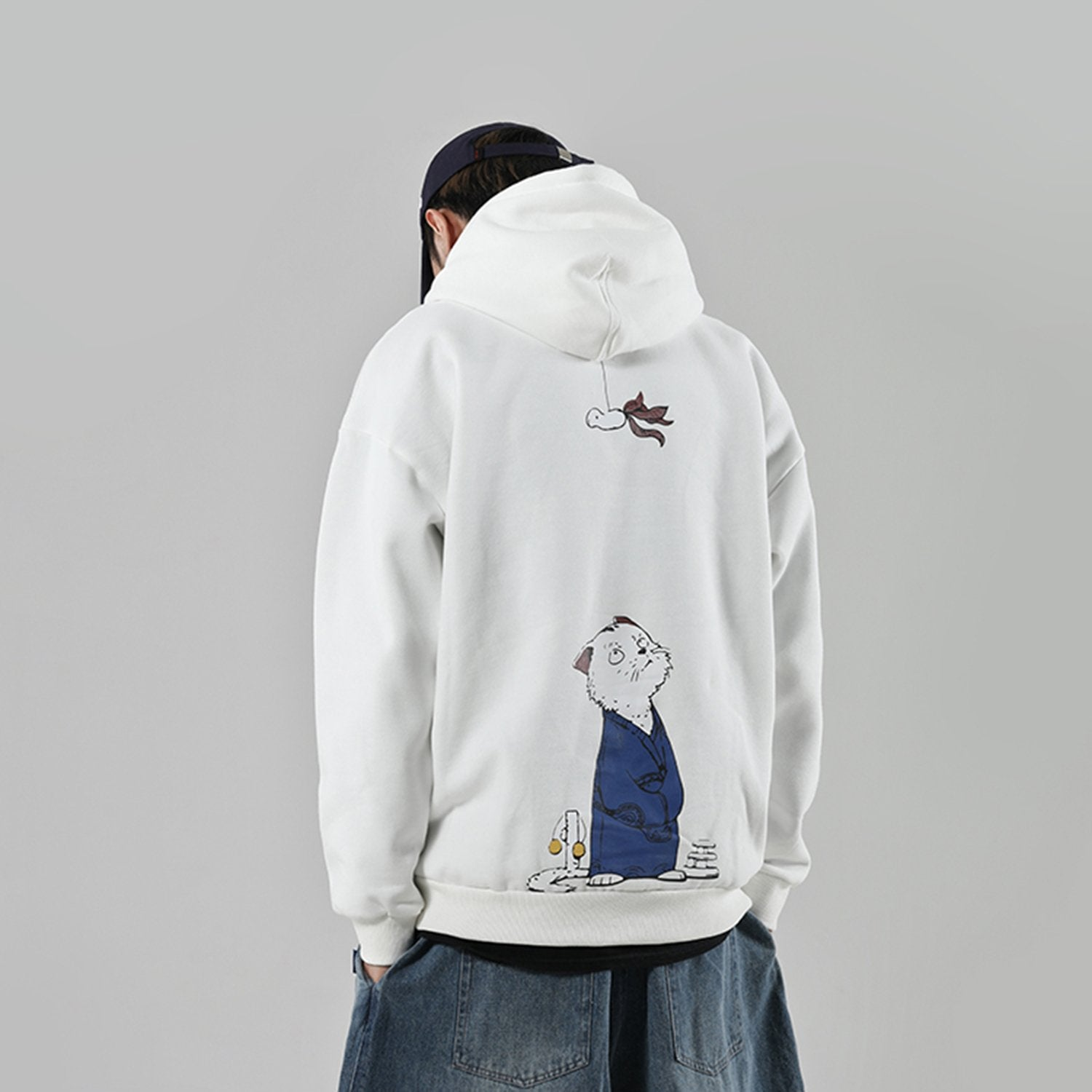 Cat Print HIPHOP Padded Sweatshirt
