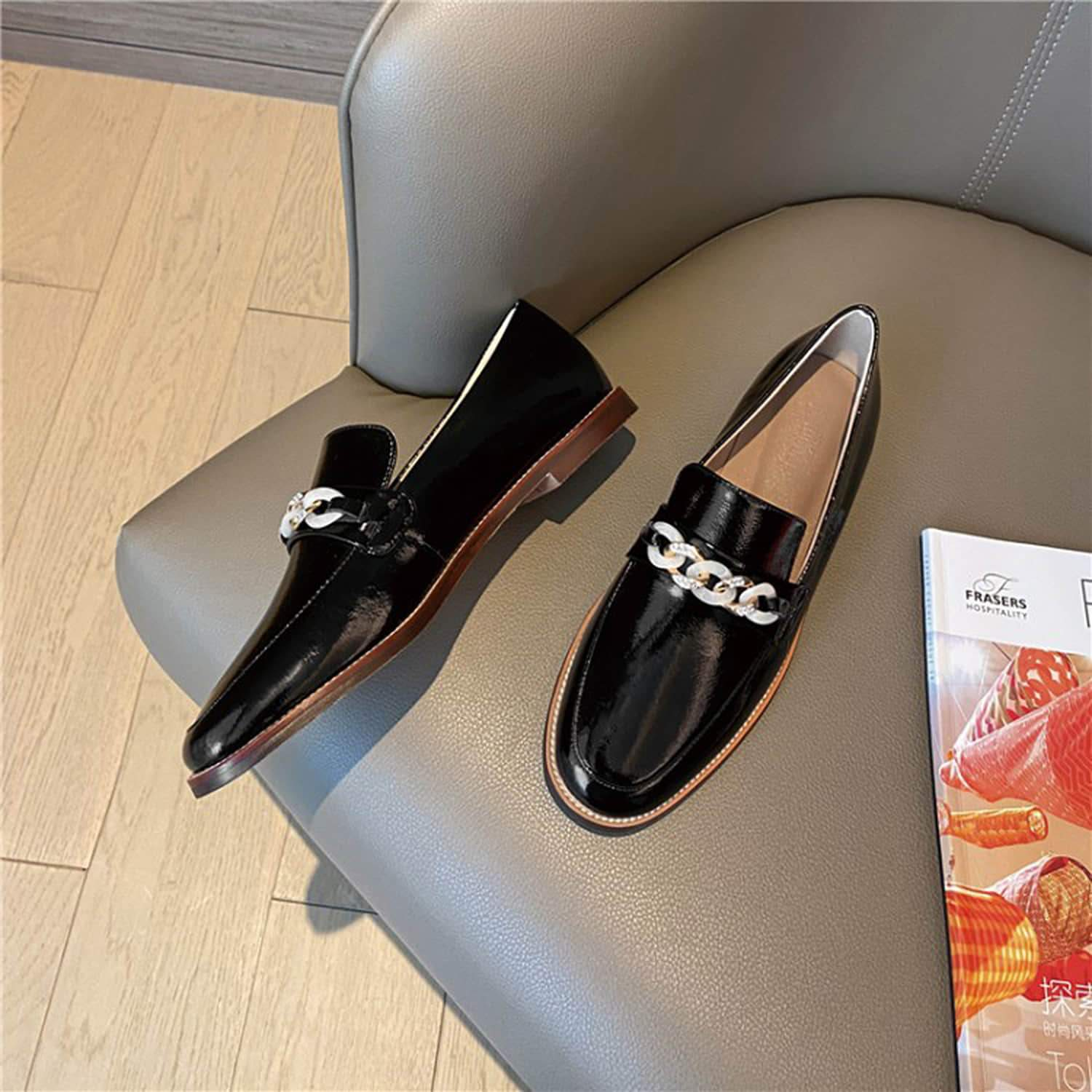 Patent Leather Decorative Chain Loafers