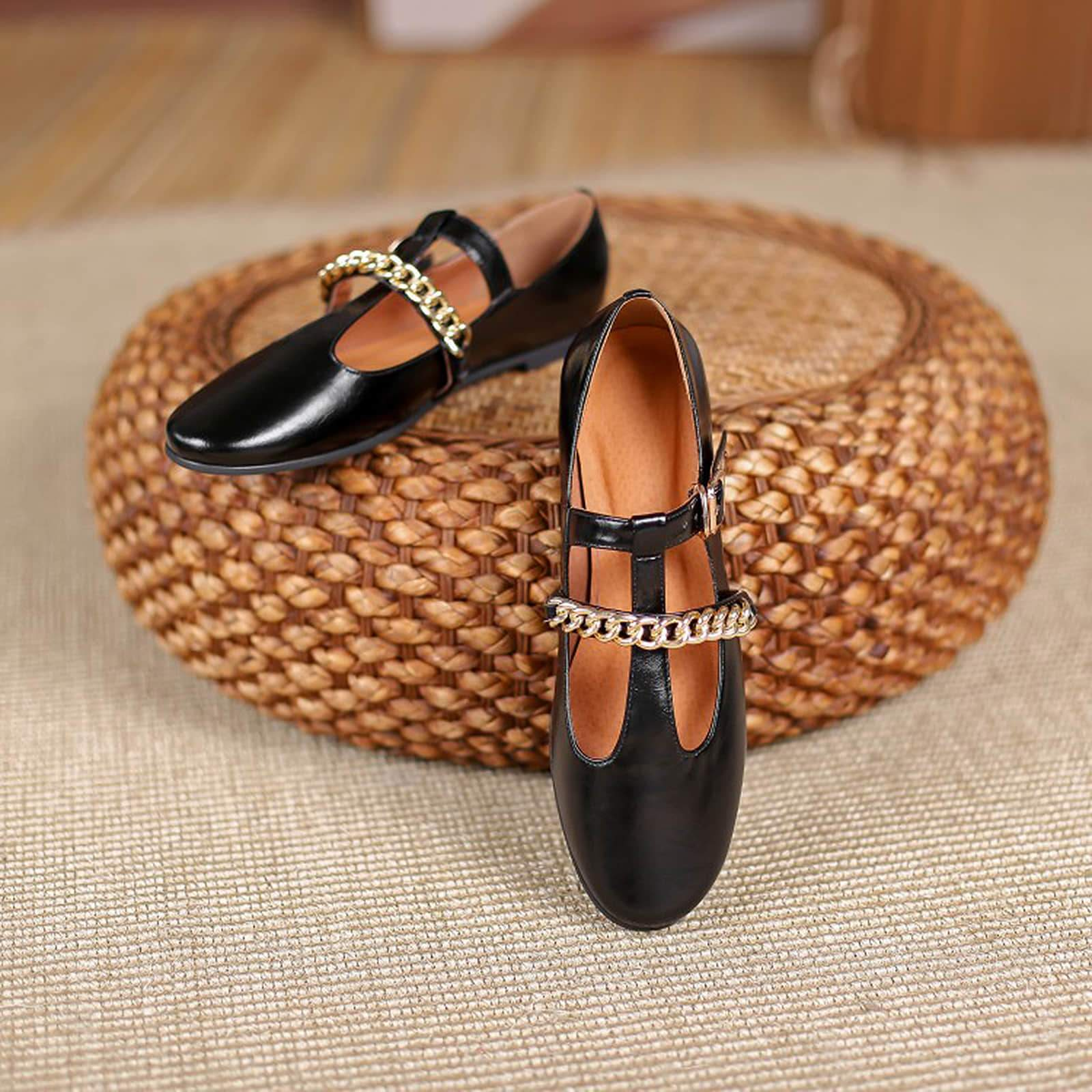T-shaped Metal Chain Flat Loafers